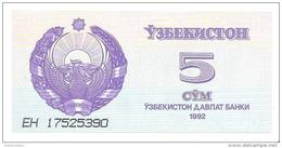 Uzbekistan - Pick 63 - 5 Sum 1992 - Unc - Uzbekistan