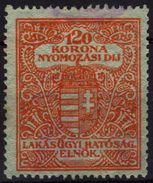 1923 Hungary - Housing / Flat Tax / Police - Investigation Fee - Revenue Stamp - 120K - Used - Fiscale Zegels