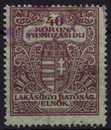 1923 Hungary - Housing / Flat Tax /  Police - Investigation Fee - Revenue Stamp - 40K - Used - Fiscale Zegels