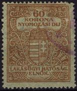 1923-1925 Hungary - Housing / Flat Tax / Police -  Investigation Fee - Revenue Stamp - 60 K / DAMAGED Edge - Fiscale Zegels