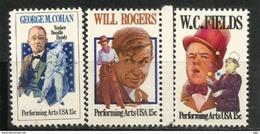 Acteurs Américains Will Rogers, W.C Fields, George M.Cohan.  Trois Timbres Neufs ** ETATS-UNIS - Acteurs