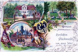 Thuringen, Mühlhausen Gruss, Litho Avec Blason Et Nains - Muehlhausen