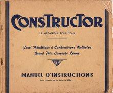 Manuel D'instructions CONSTRUCTOR  Boîte N° 00-1 De 1920 - Ancêtre Meccano, Concours Lépine - Jouet Métallique - Planches & Plans Techniques