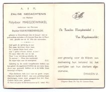 Devotie - Devotion - Polydoor Maegdewinkel - Grotenberge 1866 - St Lievens-Esse 1952 - Van Ruyskensvelde - Esquela