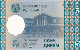 Banconota  5 Five Dirams - TAJIKISTAN -  Anno 1999. - Tagikistan
