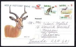 1198  Illustrated Postcard  Impala  Uprated R1,90 To Canada - África Del Sur (1961-...)