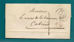POSTE RURALE - Lettre D'AIX-en-PROVENCE Pour CABRIÈS (Bouches-du-Rhône) -1839  . Lettre Locale - Postmark Collection (Covers)