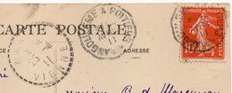 """Poste Ferroviaire-1911- Cachet Ambulant """"Angoulême à Poitiers"""" Sur Semeuse-beau Cachet Sur CPA Poitiers - Marcophilie (Lettres)"""