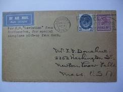 GB - 1929 Air Mail Cover - From S.S. Leviathan Southampton - Special Aeroplane Pick Up From Deck To USA - Cartas