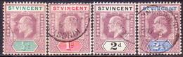 ST.VINCENT 1902 SG #76-79 First 4 Stamps Of The Set Used Wmk Crown CA CV £11.50 - St.Vincent (...-1979)