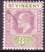 ST.VINCENT 1902 SG #80 3d Used Wmk Crown CA Brown Spots On Back - St.Vincent (...-1979)