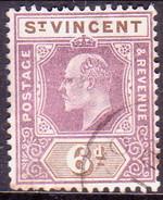 ST.VINCENT 1902 SG #81 6d Used Wmk Crown CA CV £50 Brown Spots On Back - St.Vincent (...-1979)