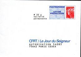 2- FRANCE Enveloppe Réponse CFRT LE JOUR DU SEIGNEUR  Marianne Luquet 14 Juillet - Enteros Postales