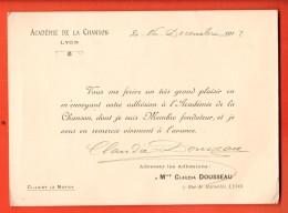 NEP-10 Document De La Présidente De L'Académie De La Chanson Rue De Marseille à Lyon , En 1912, Format CPSM - Non Classés
