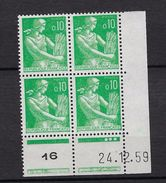 "FR Coins Datés YT 1231 "" Moisonneuse 10c. Vert "" Neuf** Du 24.12.59 - 1960-1969"