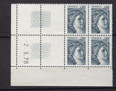 """FR Coins Datés YT 1962 """" Sabine 1c. Gris  """" Neuf** Du 2.3.78 à Gauche - Coins Datés"""