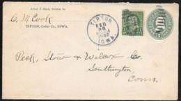 United States Of America - 1c Franklin Stationery Envelope Uprated - Tipton Iowa 1900 - Enteros Postales