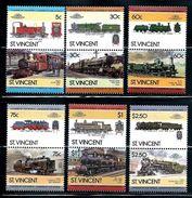 St. Vincent     Locomotives Of UK    Set (6 Pair)   SC# 849-54 MNH** - St.Vincent (1979-...)