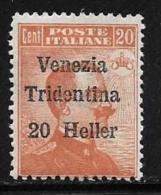 Italy Austrian Occupation, Scott # N63 Mint Hinged Italy Stamp Surcharged Venezia Tridenttina, 1918 - 8. WW I Occupation