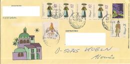 """Portugal 1999 Entier Postal Type PAP Carta Inteira De Natal Complementada Com 6 Selos """"Profissões E Personagens"""" - Cartes-maximum (CM)"""