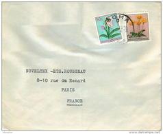 1957  Lettre  De Paulis  Pour La France  Fleurs 0,50F, 7F - 1947-60: Covers