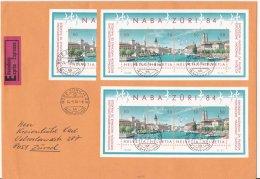 Switzerland Expres Cover Posted Zürich Fraumünsterpost 1984 Franked W/ 1984 NABA Souvenir Sheets (LAR6-7) - Briefmarkenausstellungen