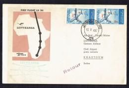 1962  Lufthansa First Flight  Johannesburg To Khartoum   SG 220 Pair - South Africa (1961-...)