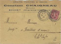 1929- Env. à En-tête  D'un Meunier  à BOUHET ( Charente Maritime) Cad  Facteur-Boitier 1 Cercle Pointillé - Storia Postale