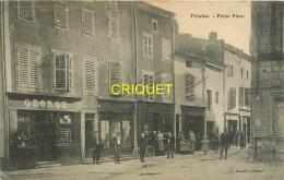 54 Vézelise, Petite Place, Belle Animation Devant Les Commerces...., Carte Peu Courante Affranchie 1908 - Vezelise