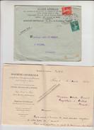 """SEMEUSE  PERFOREE 5c Vert +10c Rouge Sur Lettre + Envel PUB De  PARIS 22   """" STE GENERALE """" 1912  Pour CEILHES Herault - France"""