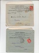 """Lot De 2 SEMEUSE  PERFOREE 10c Rge Sur  Lettre + Envel PUB De PARIS  """" STE GENERALE """" 1908 Et 1913 Pour CEILHES Herault - France"""