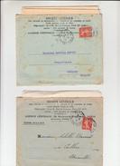 """Lot De 2 SEMEUSE  PERFOREE 10c Rge Sur  Lettre + Envel PUB De PARIS  """" STE GENERALE """" 1910 Et 1913 Pour CEILHES Herault - France"""