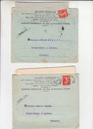 """Lot De 2 SEMEUSE  PERFOREE 10c Rge Sur  Lettre + Envel PUB De PARIS  """" STE GENERALE """" 1912   Pour CEILHES Herault - France"""