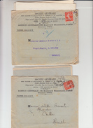 """Lot De 2 SEMEUSE  PERFOREE 10c Rge Sur  Lettre + Envel PUB De PARIS  """" STE GENERALE """" 1912 Et 1913  Pour CEILHES Herault - Perforés"""