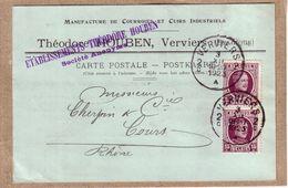 BELGIQUE - VERVIERS - CARTE POSTALE DE TYPE COMMERCIAL DE THEODORE HOUBEN A CHERPIN & CIE , COURS , RHÔNE - Verviers