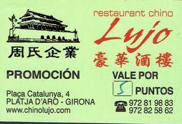 Carte Du Restaurant Chinois LUJO, Platja D'Aro - Girona (Espagne) - Cartes De Visite