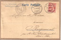 SUISSE - VERNIER PRES DE GENEVE - CARTE POSTALE TYPE COMMERCIAL DE L. GIVAUDAN A VERRERIE ROUGEMONT ST JEAN FROIDMENTEL - GE Geneva