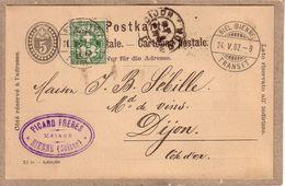 SUISSE - BIENNE - CARTE POSTALE TYPE COMMERCIAL DE PICARD FRERES A J. B. SEBILLE , NEGOCIANT EN VINS , DIJON - GE Geneva