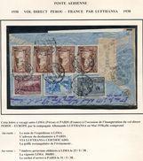 PEROU LETTRE PREMIER VOL DIRECT PEROU - FRANCE PAR LUFTHANSA EN 1938 - Peru