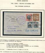 CHILI LETTRE PAR CONDOR ZEPPELIN DEPART VALPARAISO ?-?-35 POUR LA FRANCE - Chile