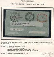 BRESIL LETTRE PAR CONDOR-ZEPPELIN-LUFTHANSA AVEC AFFRANCHISSEMENT MECANIQUE DEPART DISTRICT FEDERAL 30 JAN 1936 POUR.... - Luchtpost