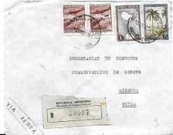 42-64- Enveloppe Recommandée Envoyée D'Argentine En Suisse 1952 - Storia Postale