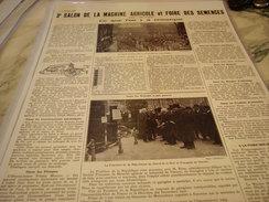 ANCIENNE PUBLICITE LE 3 SALON DE LA MACHINE AGRICOLE ET DES SEMENCES   1924 - Tractors