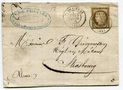 VOSGES De PLOMBIERES LAC Du 24/04/1876 Avec N°56 Oblitéré Par Dateur T 17 - Postmark Collection (Covers)