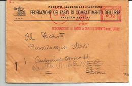 AFFRANCATURA MECCANICA ROSSA-FEDERAZIONE FASCI COMBATTIMENTO DEL'URBE 1939 - 1900-44 Vittorio Emanuele III