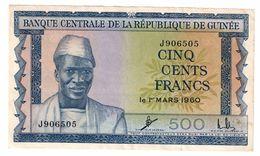 Guinea 500 Francs 1960 XF+/AUNC Stains - Guinea