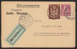 """Flugpostdrucksache """"Berlin- München"""", Alle Stempel, Leider Ecke Angesetzt, PP73 A2/06, O - Deutschland"""