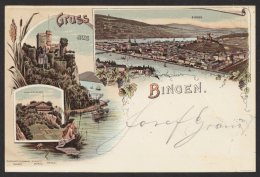 """""""Bingen"""", Farb. Litho, 1899 Gelaufen - Ohne Zuordnung"""