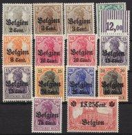 Belgien, 14 Werte Mit Varianten, Aus 10/23, ** - Besetzungen 1914-18