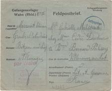 WW1 - Lettre D Un Prisonnier De Guerre Du Camp De WAHN - L 2285 - 1. Weltkrieg 1914-1918